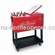 Stainless Steel Patio Ice Cooler/Beverage Cart With 76l Volume, Suitable for Indoor or Outdoor Use